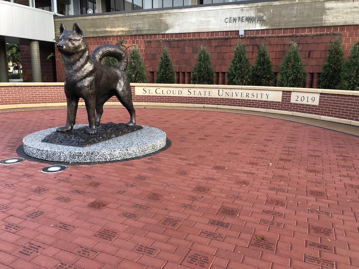 engraved pavers at SCSU Husky Plaza